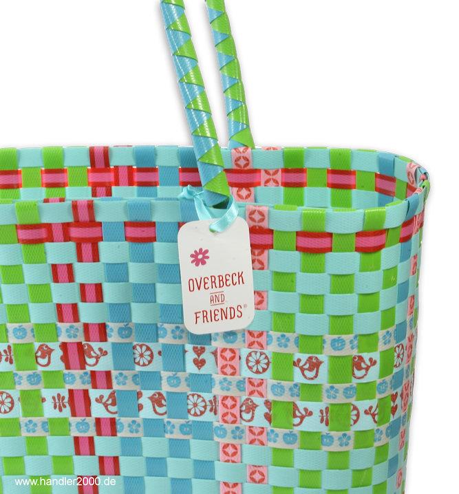overbeck and friends markttasche ruby blau klein tasche korb einkauskorb ebay. Black Bedroom Furniture Sets. Home Design Ideas