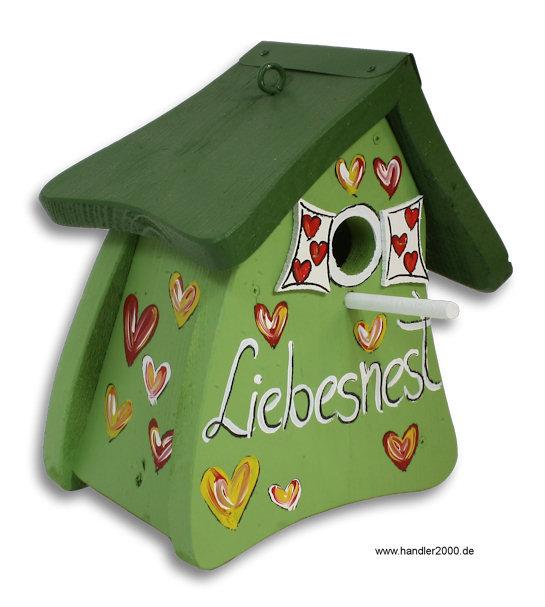 original vogelvilla nistkasten vogelhaus liebesnest gr n f r meisen ebay. Black Bedroom Furniture Sets. Home Design Ideas